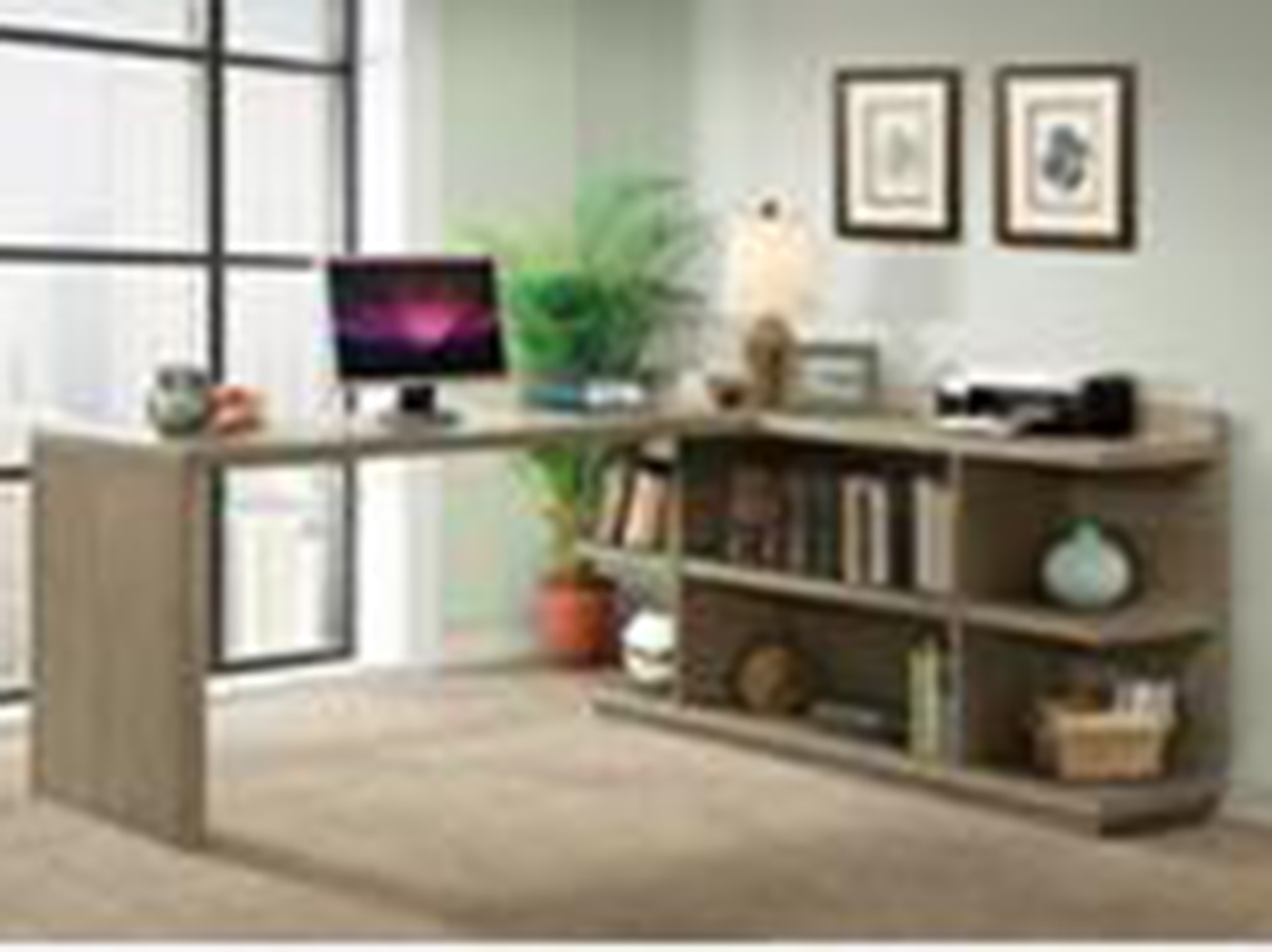 Perspectives L-Desk with Bookcase Return