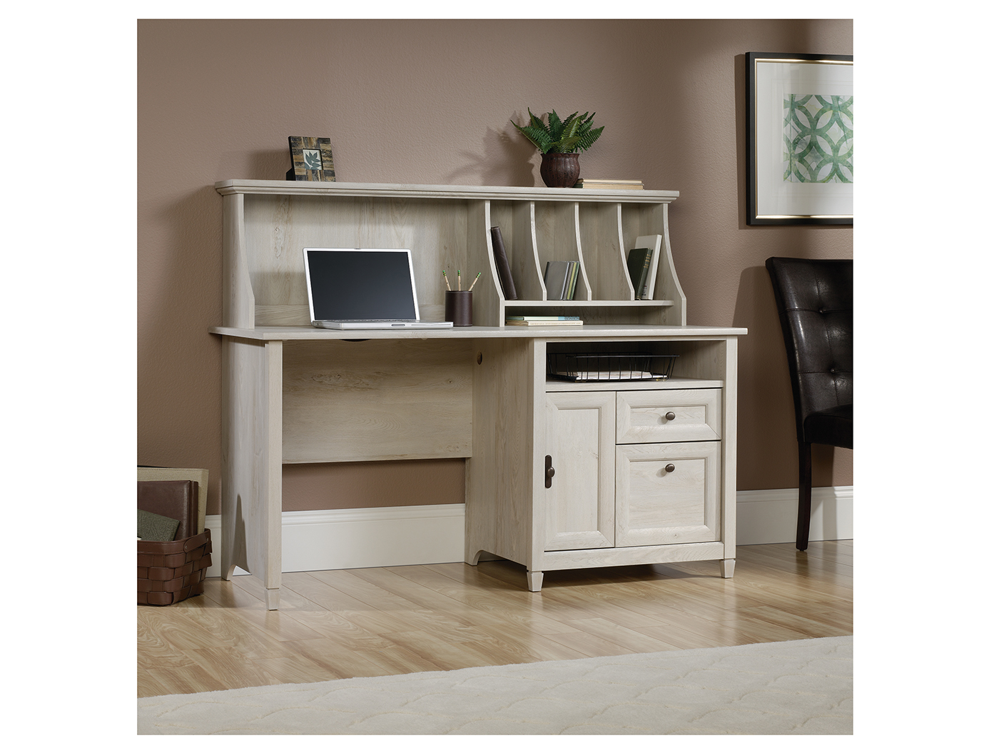 Edge Water Chalked Cherry Computer Desk With Hutch