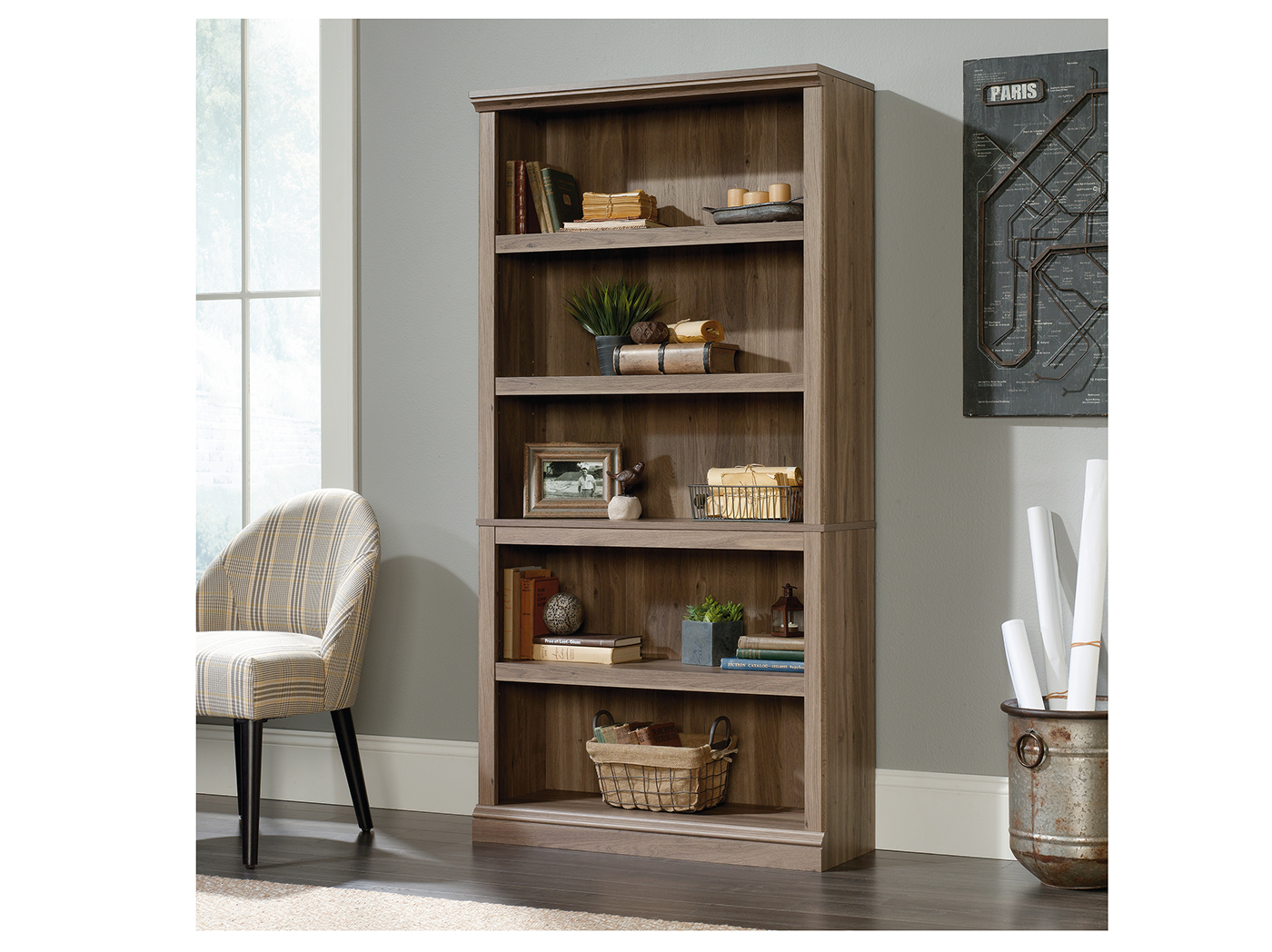 Sauder Select Salt Oak 5 Shelf Bookcase