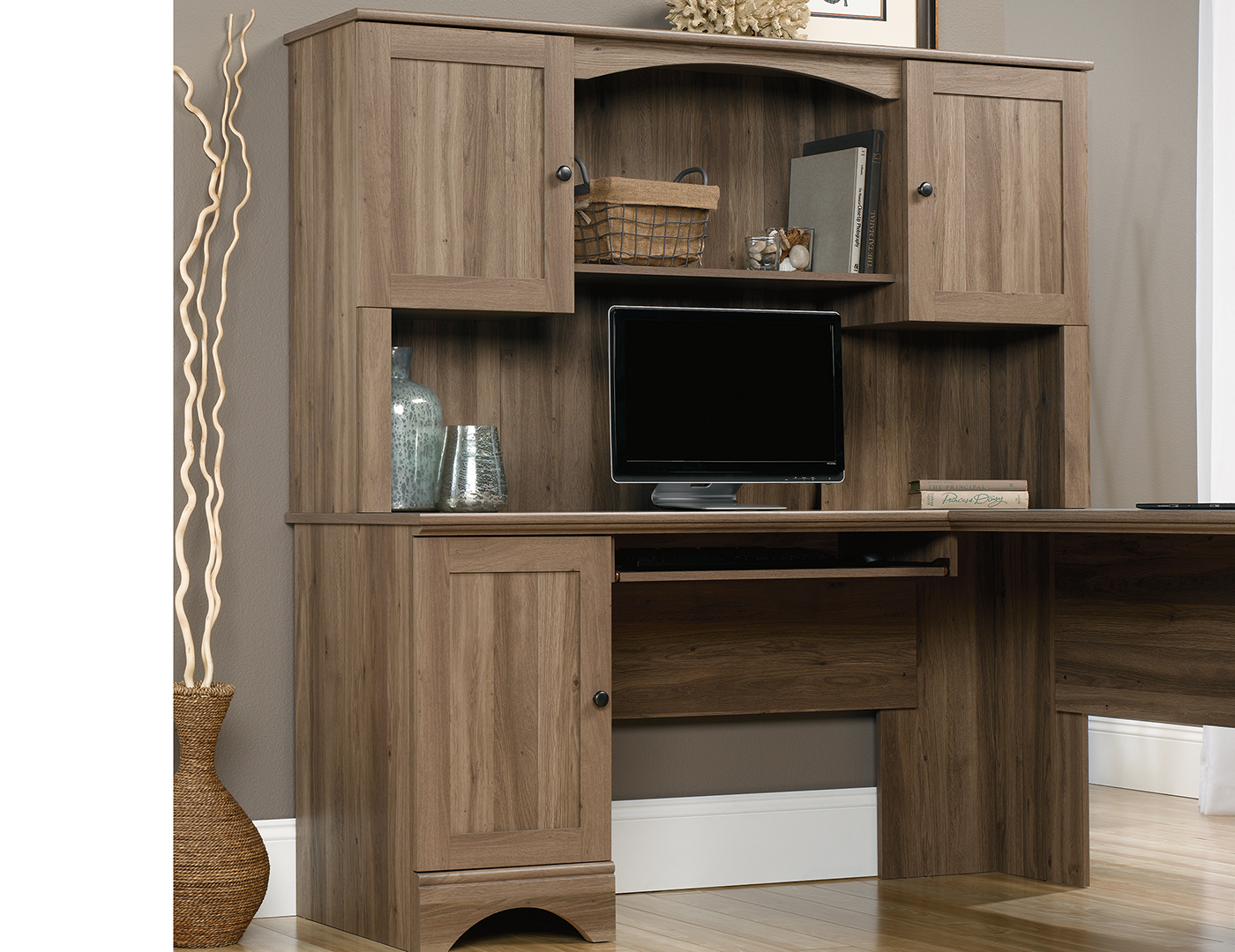 white home by wooden our top corner brown and hutch doors amazing small drawers for completed office dark desk with
