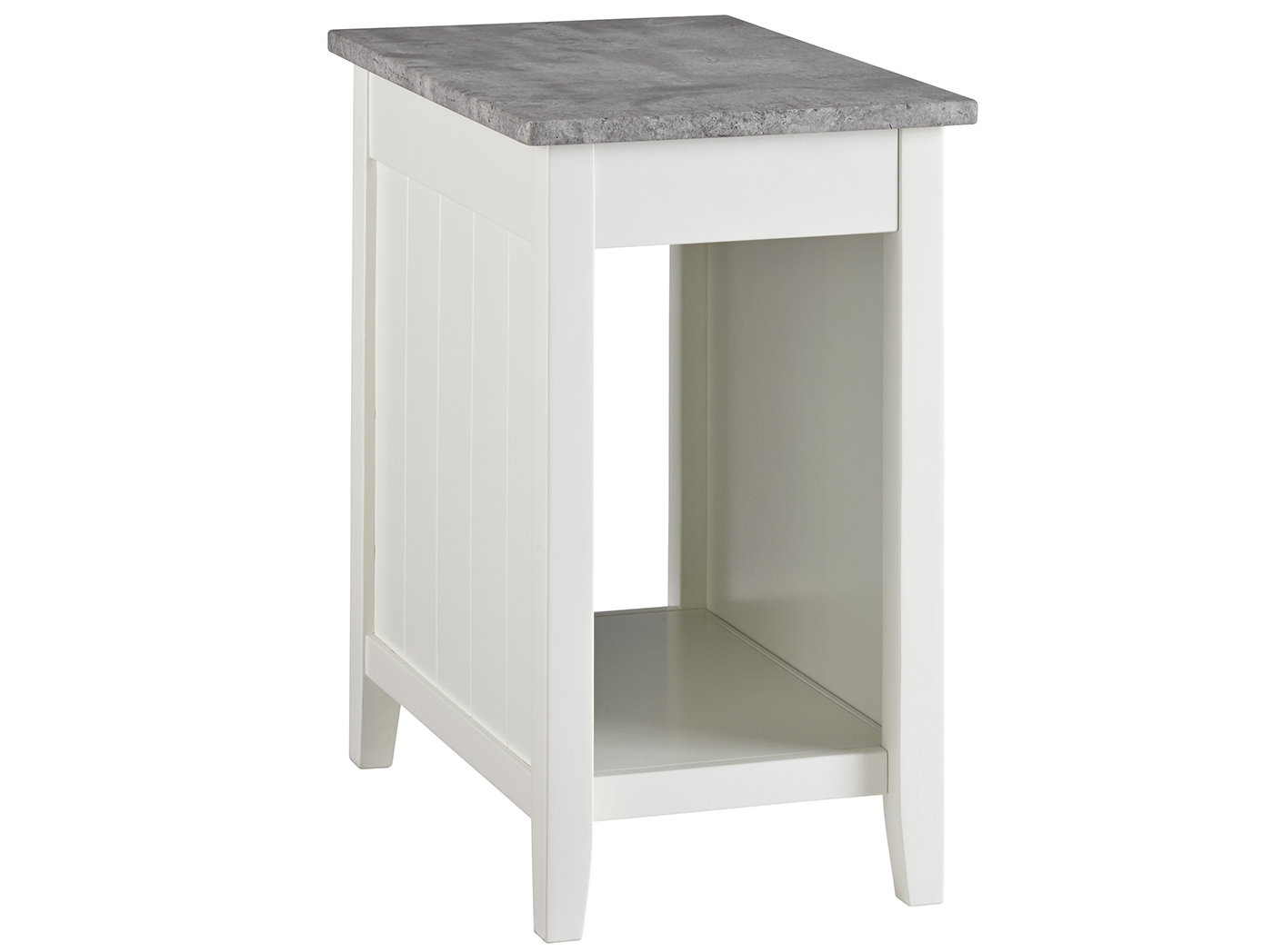 White & Concrete Power Chairside Table
