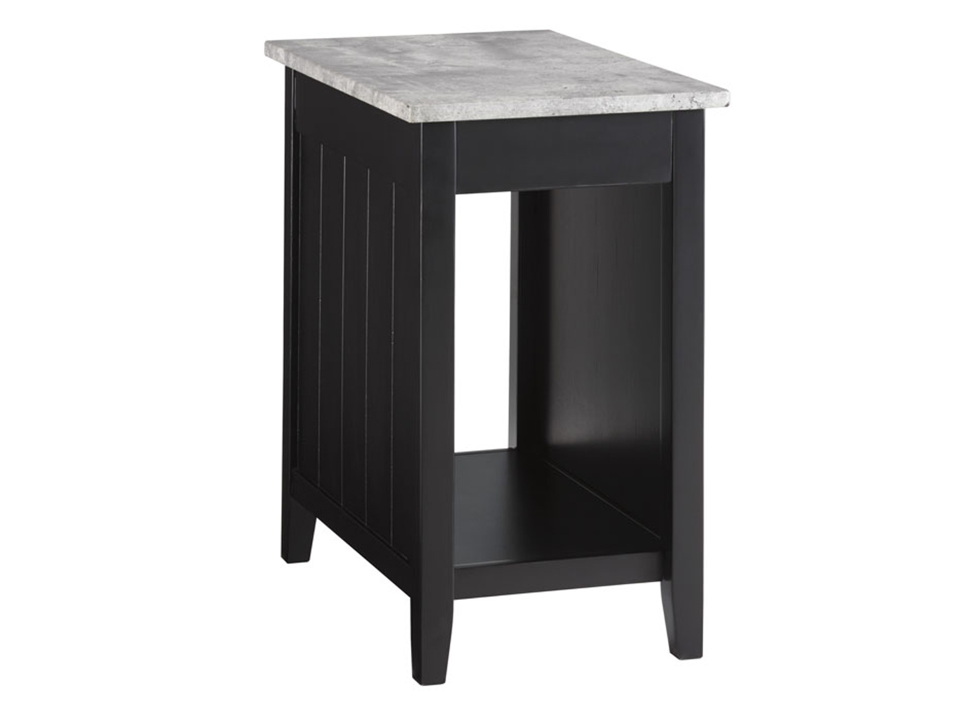 Black & Concrete Power Chairside Table
