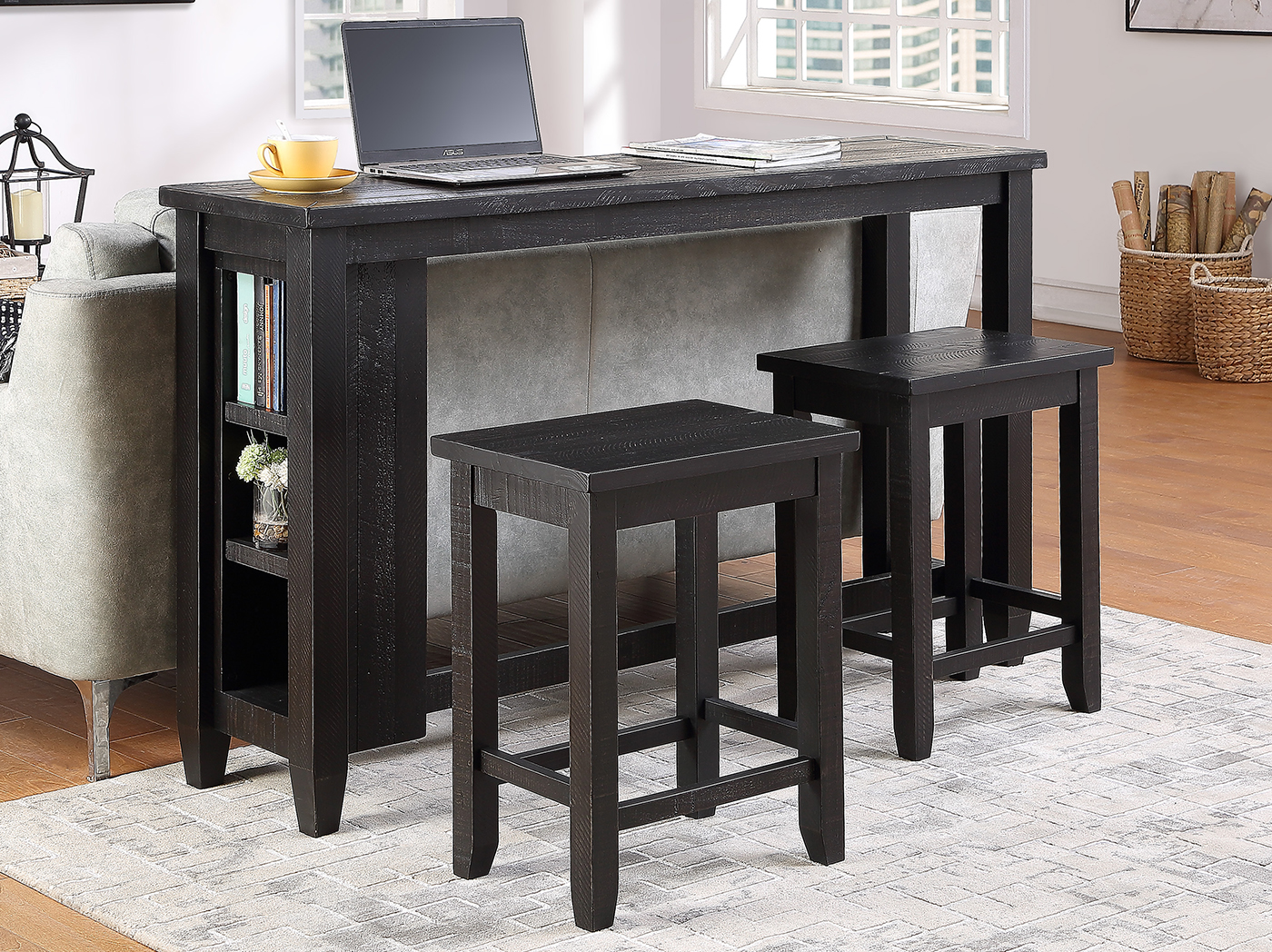 Cooperstown 3pc Bookcase Console Bar Set
