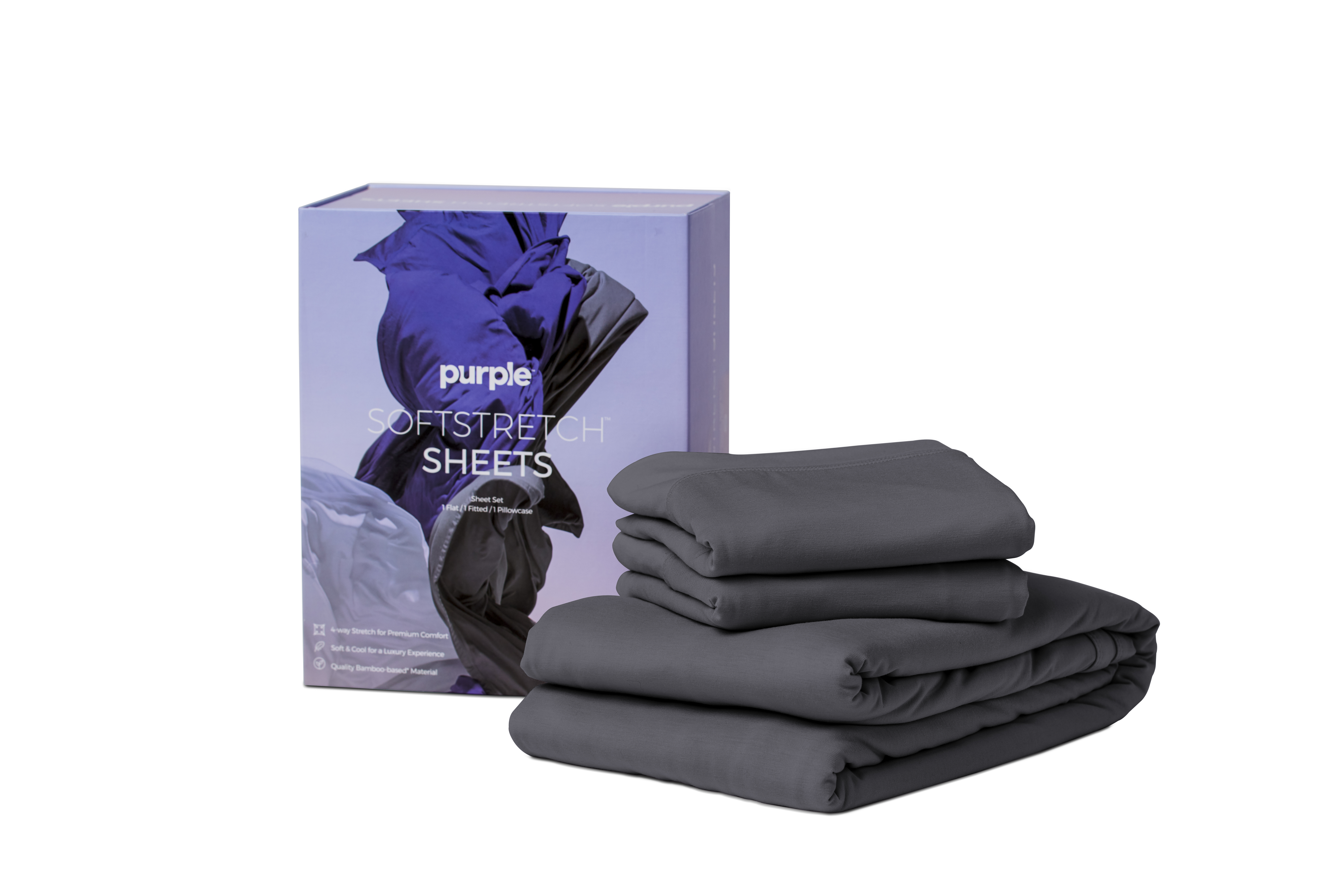 Purple Soft Stretch King Sheet-Stormy Grey