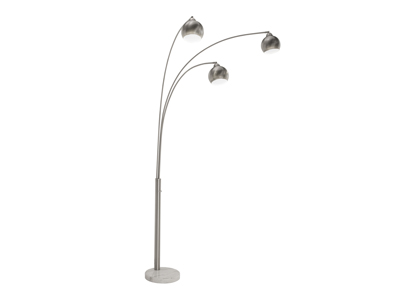 "Brushed Steel 3-Lite Floor Arc Lamp 83""H"