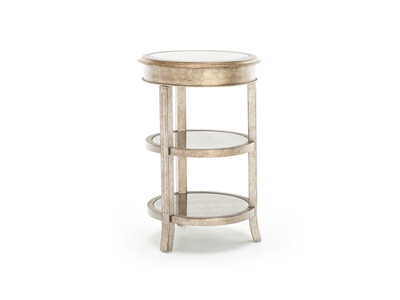 Gold and Mirror Round Accent Table