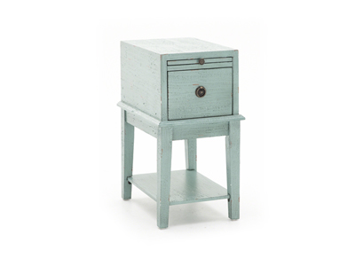 Blue Drawer Chairside Table