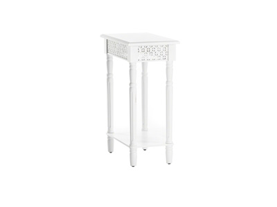 White Cut Out End Table