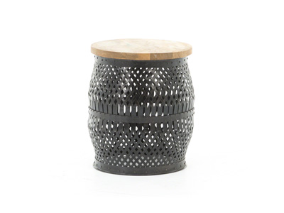 Metal and Wood Round Side Table