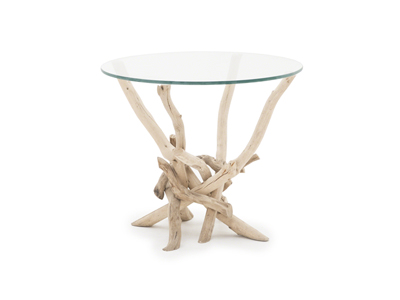 Driftwood Glass End Table