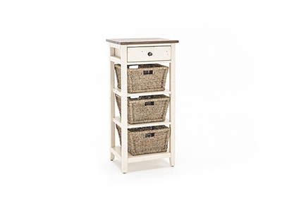 Tuscan Retreat White & Oxford 3 Basket Stand