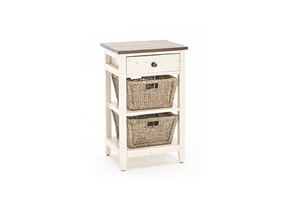 Tuscan Retreat White & Oxford 2 Basket Stand