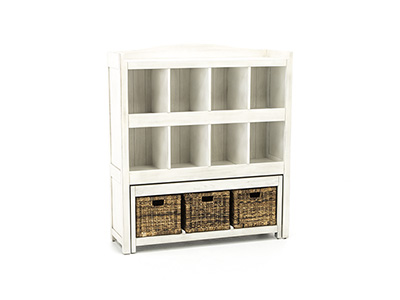 Storage Solutions Collection Bookcase with Trundle Bench and Baskets