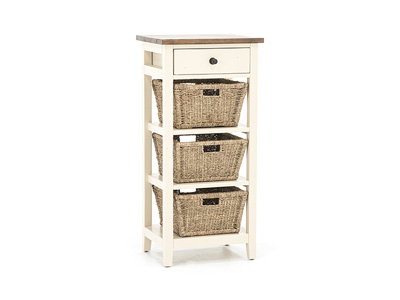 Tuscan Collection White & Pine 3 Basket Stand