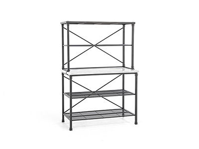 Metal Bakers Rack with Marble Shelf