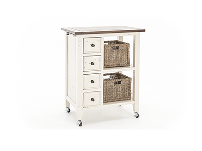 Tuscan Retreat White & Oxford 2 Basket Cart