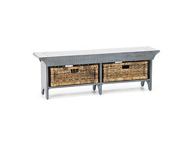 "Storage Solutions Collection Sage 55"" Bench with 2 Baskets"