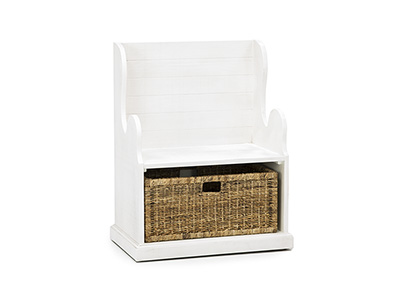 Storage Solutions Collection White Hall Seat with Basket