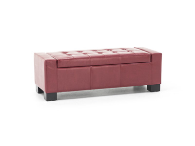 Red Mirage Tufted Storage Bench