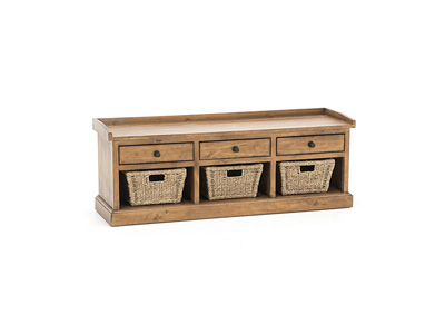 Tuscan Collection Basket Bench with 3 Drawers