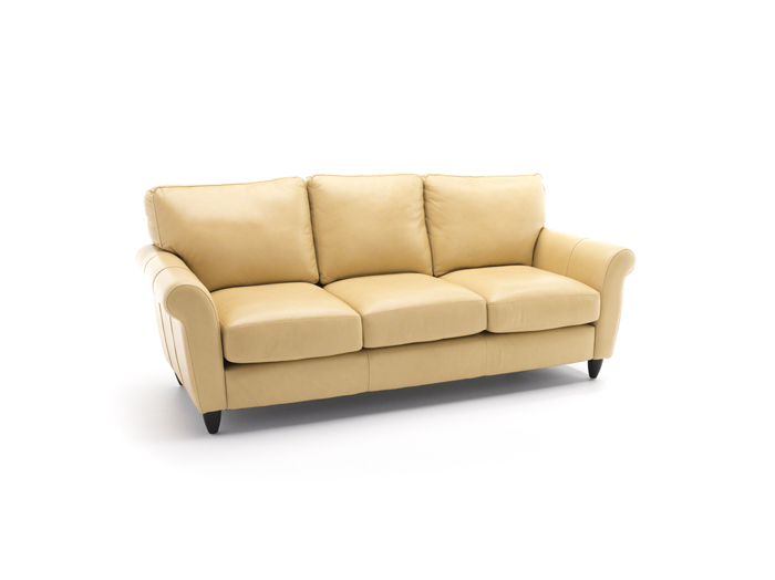 Yellow leather sofa roselawnlutheran for Yellow leather sofa bed
