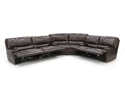Placier 3-Pc. Leather Power Headrest Sectional