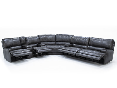 Placier 3-Pc. Leather Power Headrest Reclining Sectional