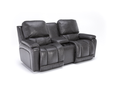 Greyson Leather Power Recline Console Loveseat