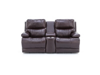 Kasey Leather Fully Loaded Console Loveseat