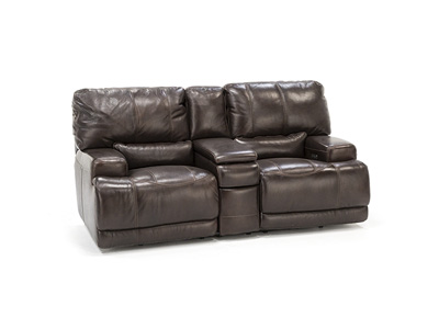 Placier Leather Power Headrest Console Loveseat