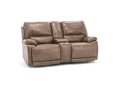 Brady Leather Power Headrest Console Loveseat