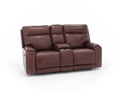 Tyson Leather Power Headrest Console Loveseat