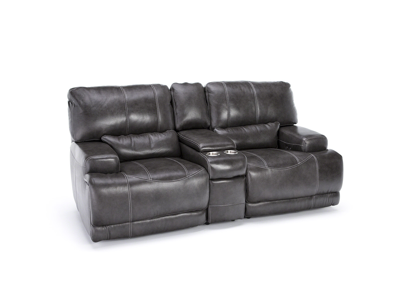 Placier Leather Power Reclining Console Loveseat