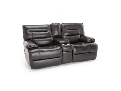 Tacoma Leather Power Console with Power Headrest Loveseat
