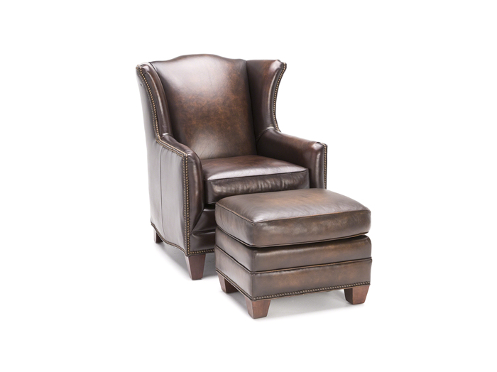 Athens Leather Wing Chair U0026 Ottoman Set