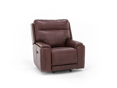 Tyson Leather Power Recliner with Power Headrest Glider