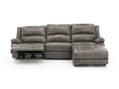 Laredo II Leather Grey 3-pc. Power Reclining Extra Wide Seating Sectional