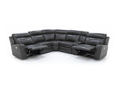 Corey Leather 6-pc. Power Recline with Power Headrest Modular
