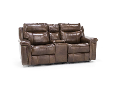 Tulsa Leather Power Headrest Console Reclining Loveseat