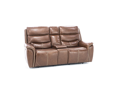 Dover Leather Power Headrest Reclining Console Loveseat