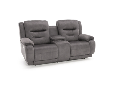 Crescent Power Headrest Reclining Console Loveseat