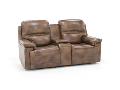 Direct Designs® Prescott Leather Power Headrest Console Loveseat