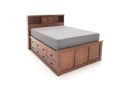 American Mission Queen Bookcase Storage Bed