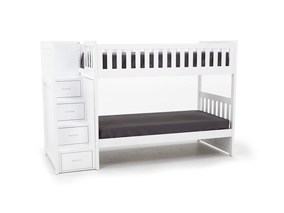 Twin Over Twin White Bunk Bed with Storage Stairs