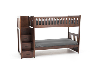 Twin Over Twin Merlot Bunk Bed with Storage Stairs