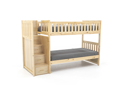 Twin Over Twin Natural Bunk Bed with Storage Stairs