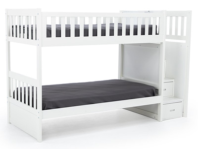 White Twin Over Twin Bunk Bed with Ladder Chest