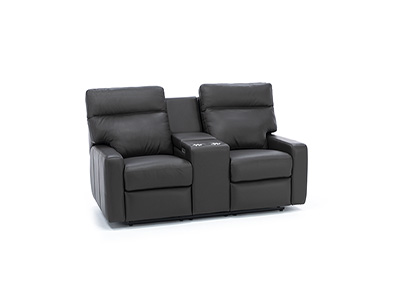 Design and Recline Lyndsey Leather Fully Loaded Console Reclining Loveseat
