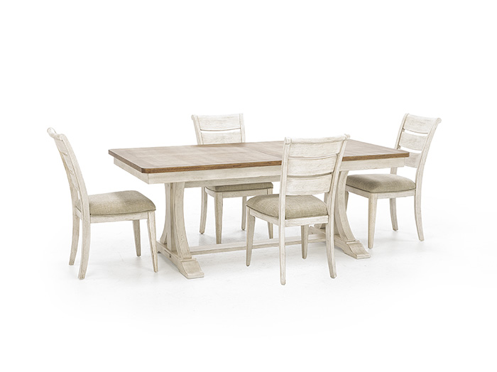 Farmhouse Reimagined 5-pc. Dining Set with Ladderback Upholstered Seat Chair