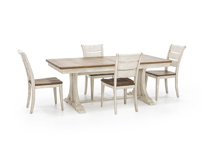 Farmhouse Reimagined 5-Piece Set with Ladderback Wood Seat Side Chair